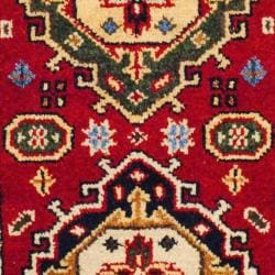 Indo Hand-knotted Kazak 2'x 4' Red/ Ivory Wool Area Rug (India)