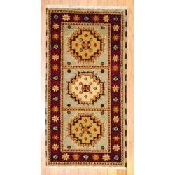 Indo Hand-knotted Kazak Gray/ Gold Wool Rug (2' x 4')