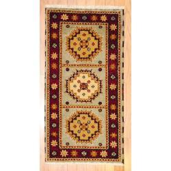 Herat Oriental Indo Hand-knotted Kazak Grey/ Gold Wool Rug (2' x 4')