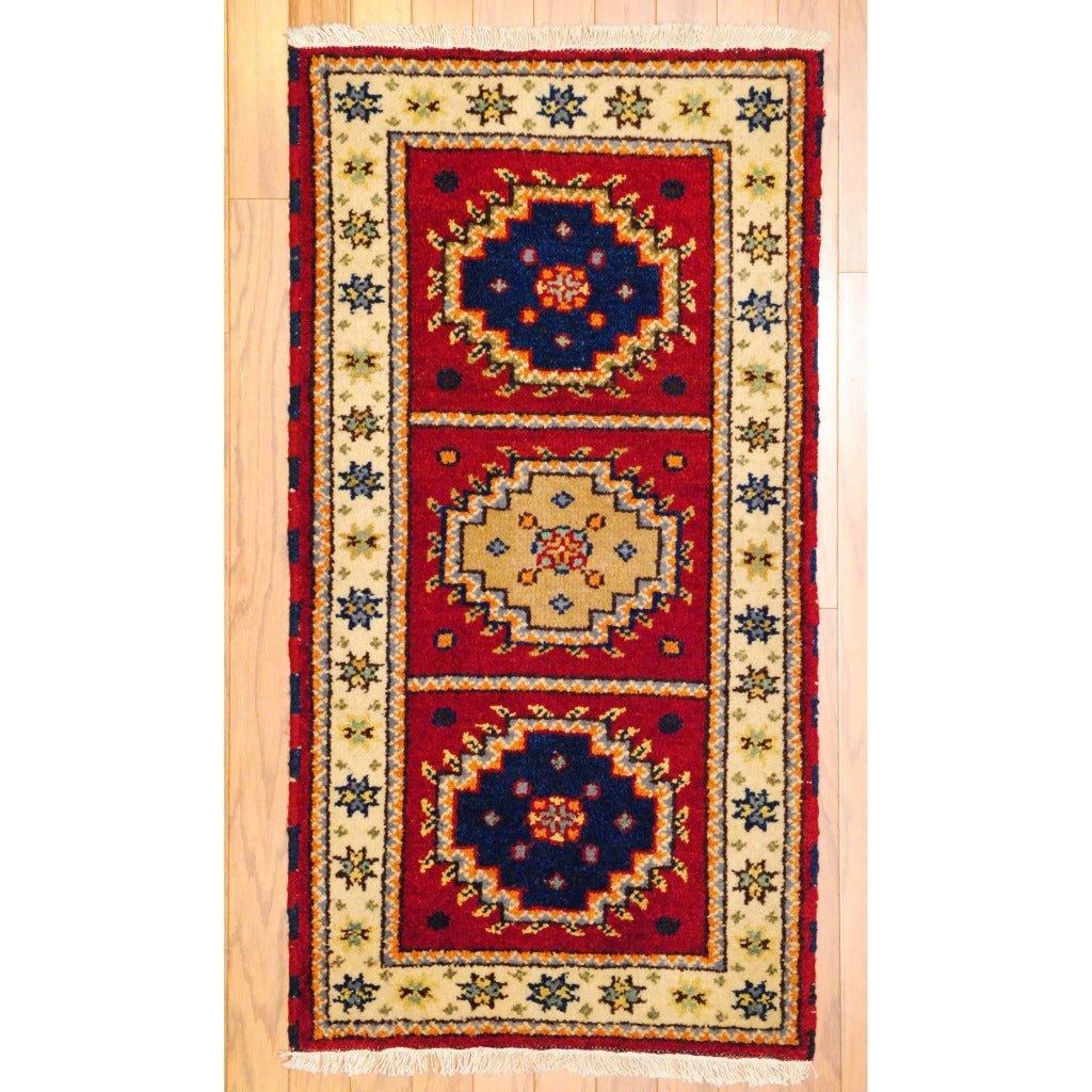 Herat Oriental Indo Hand-knotted Kazak Red/ Ivory Geometric Wool Rug (2' x 4')