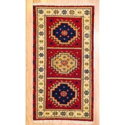 Indo Hand-Knotted Kazak Red/Ivory Geometric Wool Rug (2' x 4')