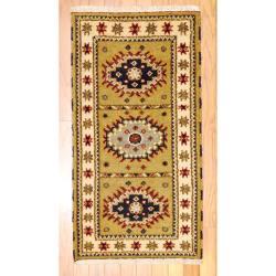 Herat Oriental Indo Hand-knotted Kazak Olive/ Gold Wool Rug (2' x 4')