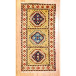 Indo Hand-knotted Kazak Beige/ Gold Wool Rug (2' x 4')