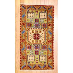 Indo Hand-knotted Kazak Light Green/ Light Brown Wool Rug (2' x 4')