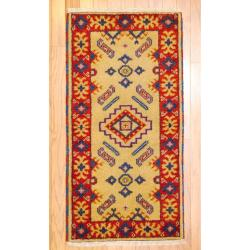 Indo Hand-knotted Kazak Ivory/ Gold Wool Rug (2' x 4')
