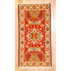Indo Hand-knotted Kazak Rust/ Orange Wool Rug (2' x 4')