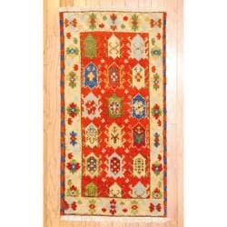Herat Oriental Indo Hand-knotted Kazak Rust/ Beige Wool Rug (2' x 4')