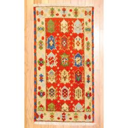 Indo Hand-knotted Kazak Rust/ Beige Wool Rug (2' x 4')
