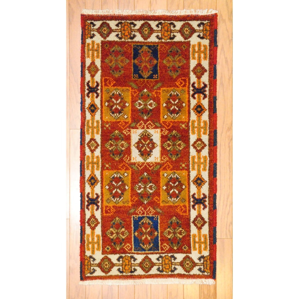 Indo Hand-knotted Kazak Rust/ Light Brown Wool Rug (2' x 4')