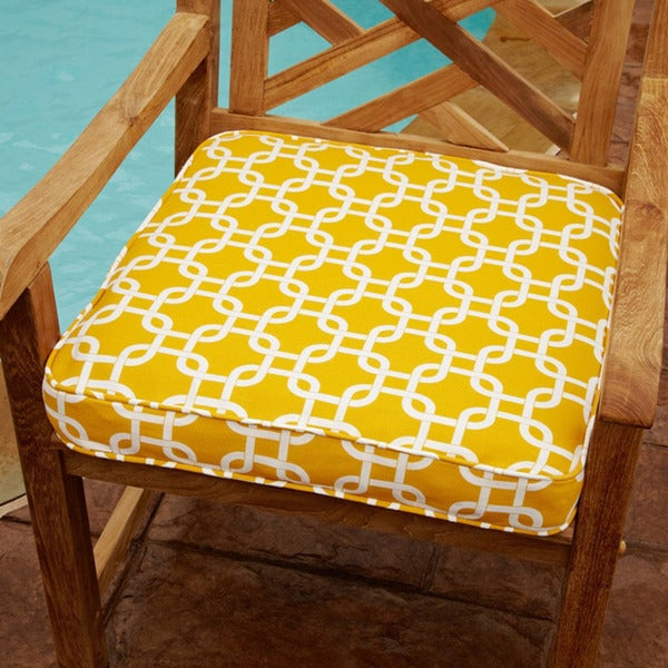 Penelope Yellow 20 inch Square Outdoor Chair Cushion