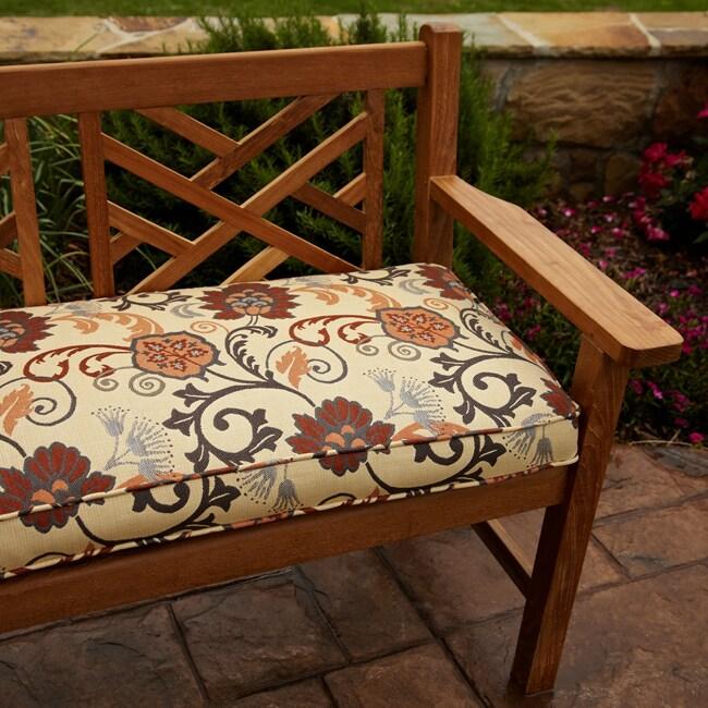 Clara Beige/ Rust/ Grey Indoor/outdoor Sunbrella Fabric 48-inch Bench Cushion