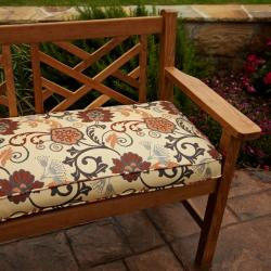 Clara Grey/ Rust Outdoor 60-inch Sunbrella? Fabric Bench Cushion