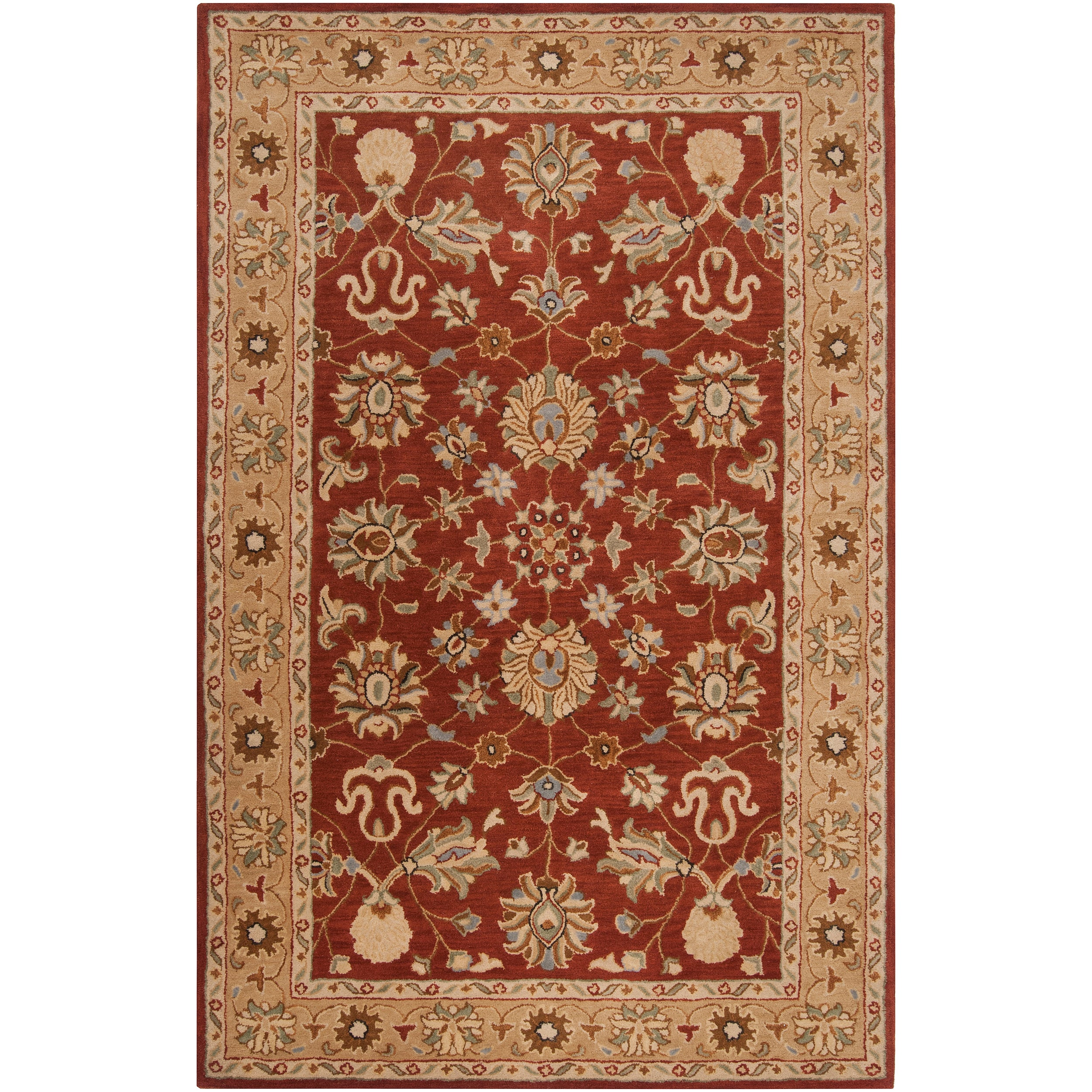 Hand-Tufted Red Abstract Clifford New Zealand Wool Rug (3'3 x 5'3)