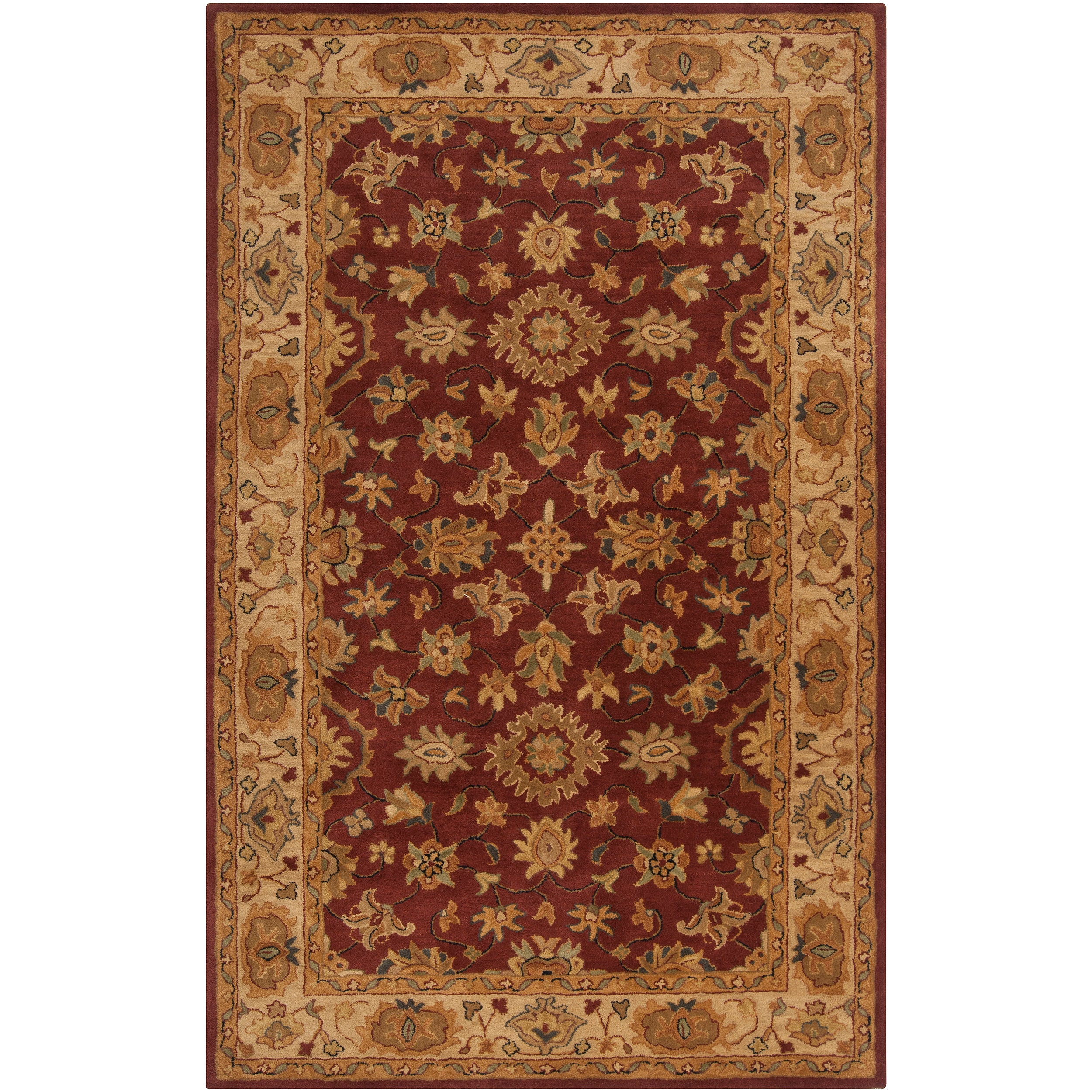 Hand-tufted Red Clifford New Zealand Wool Rug (5' x 8')