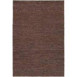 "Handwoven Brown Doctate Natural Fiber Abstract Hemp Rug (3'3"" x 5'3"")"