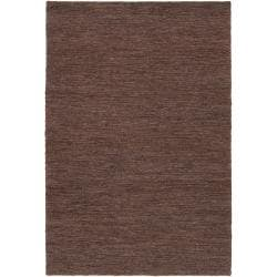 Abstract Hand-Woven Brown Doctate Natural Fiber Hemp Rug (8' x 11')
