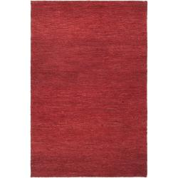 Hand-woven Red Dominican Natural Fiber Hemp Rug (8' x 11')