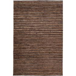 Hand-woven Brown Doctate Natural Fiber Hemp Rug (5' x 8')
