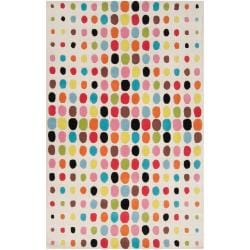 Tepper Jackson Hand-tufted White Contemporary Multi Colored Circles Dream Wool Rug (3'3 x 5'3)