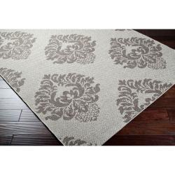 Woven Gray Elton Indoor/Outdoor Damask Pattern Rug (3'11 x 5'7)