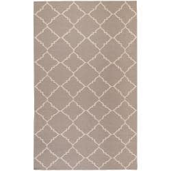 Hand-woven Brown Foptop Wool Rug (3'6 x 5'6)
