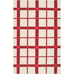 Country Living Hand-woven White High Kite Wool Rug (5' x 8')