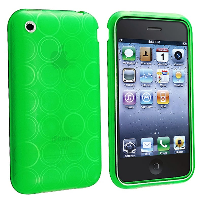 BasAcc Clear Green Circle TPU Rubber Case for Apple iPhone 3G/ 3GS