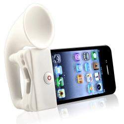 White Silicone Horn Stand Speaker for Apple iPhone 4/ 4S