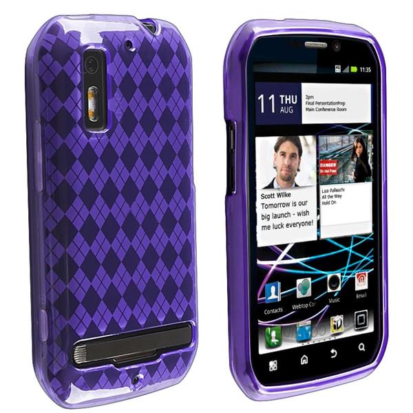 Purple Argyle TPU Rubber Skin Case for Motorola MB855 Photon 4G