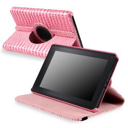 Pink Crocodile-embossed Faux-leather Case for Amazon Kindle Fire