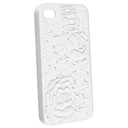 White 3D Rose Sculpture Snap-on Case for Apple iPhone 4/ 4S