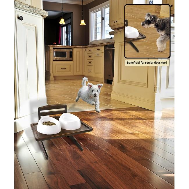 Richell Height-adjustable Mahogany-finish Doggy Dining Tray VI