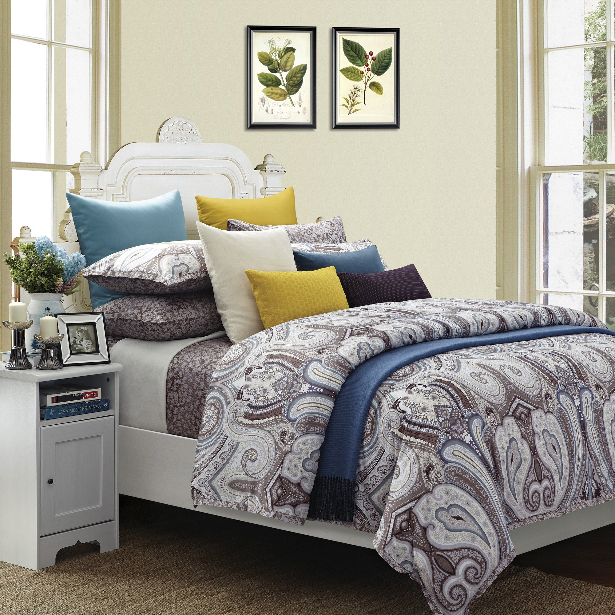 budapest california king size 8 piece cotton comforter set overstock shopping great deals on. Black Bedroom Furniture Sets. Home Design Ideas