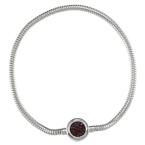 Sterling Silver Pink Sapphire Circle Bracelet 9740485