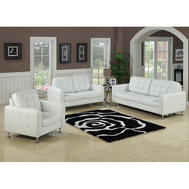 White Leather Sofa And Loveseat: Megan White Bonded Leather Sofa And Loveseat Set