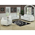 Megan White Bonded Leather Loveseat