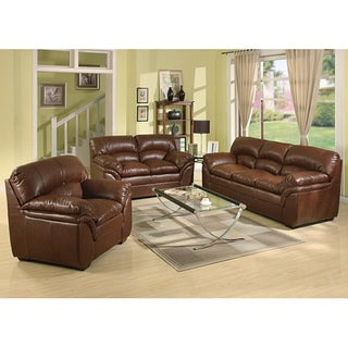 Richfield Premium Topgrain Leather Sofa, Loveseat, and Armchair Set