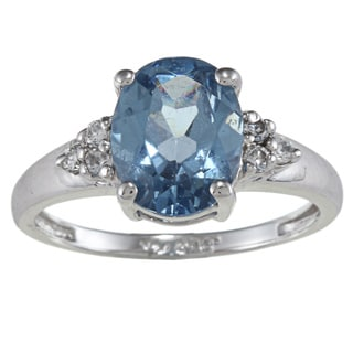 Sterling Essentials Sterling Silver Blue and White Cubic Zirconia Ring