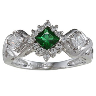 Sterling Essentials Sterling Silver Green and White Cubic Zirconia Ring