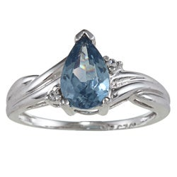 Sterling Essentials Silver Pear-cut Blue and White Cubic Zirconia Ring