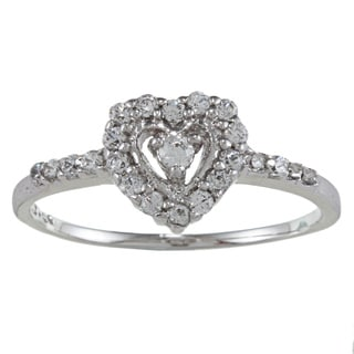 Sterling Essentials Sterling Silver White Cubic Zirconia Heart Ring