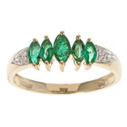Anika and August 10k Yellow Gold Zambian Emerald and Diamond Ring