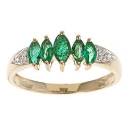 D'Yach 10k Yellow Gold Zambian Emerald and Diamond Ring