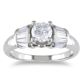 Miadora 14k White Gold 1ct TDW Certified Diamond Engagement Ring  (H-I, I1-I2) with Bonus Earrings