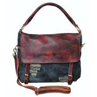 Amerileather Hayes 'Pre-hand-washed' Denim/Leather Handbag (1705-8)