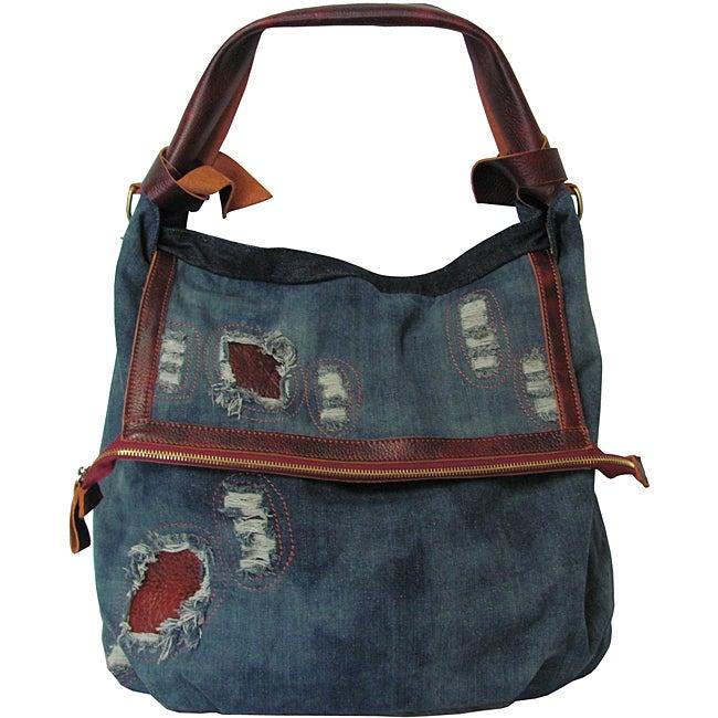 Amerileather 'Damian' Denim And Leather Shoulder Bag 120