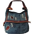 Amerileather Burke Ripped Denim/Leather Trim Tote (1706-8)
