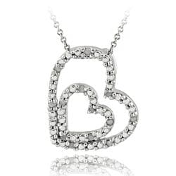 DB Designs Sterling Silver 1/8ct TDW White Diamond Double Heart Necklace (J, I3)
