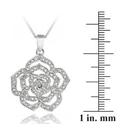DB Designs Sterling Silver 1/8ct TDW White Diamond Flower Necklace (J, I3)