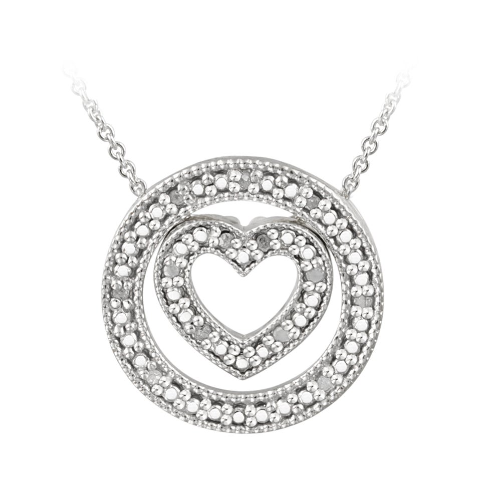 DB Designs Sterling Silver 1/5ct TDW Diamond Heart and Circle Necklace (J, I3)